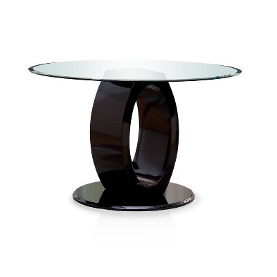 Spearelton Oval Pedestal Round Dining Table Black   IoHOMES
