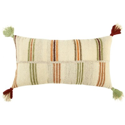 """14""""x26"""" Oversized Off-Set Striped Lumbar Throw Pillow Cover Light Beige - Rizzy Home"""
