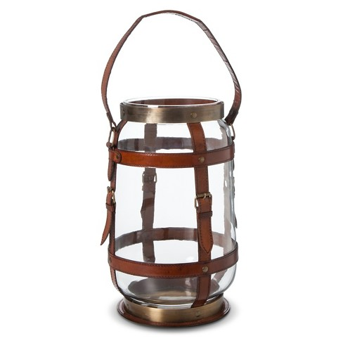Camper Hurricane Candle Lantern Brass/Brown Leather - Go Home® - image 1 of 2