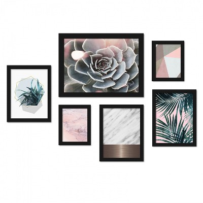 Americanflat Modern Succulent and Palms 6 Piece Framed Art Set by Emanuela Carratoni