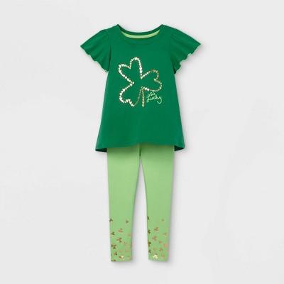 Toddler Girls' Shamrock Short Sleeve Top and Leggings Set - Cat & Jack™ Green