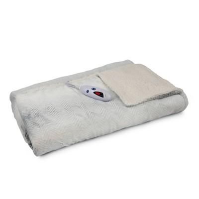 "62"" X 50"" Velour & Sherpa Electric Throw Blanket White Chevron - Biddeford Blankets"