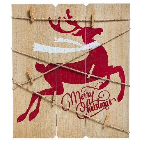 """Merry Christmas"" Deer Card Holder Wall Decor - image 1 of 2"
