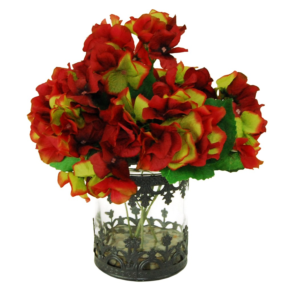 Image of Artificial Hydrangea Arrangement - Red - 1ft - LCG Florals