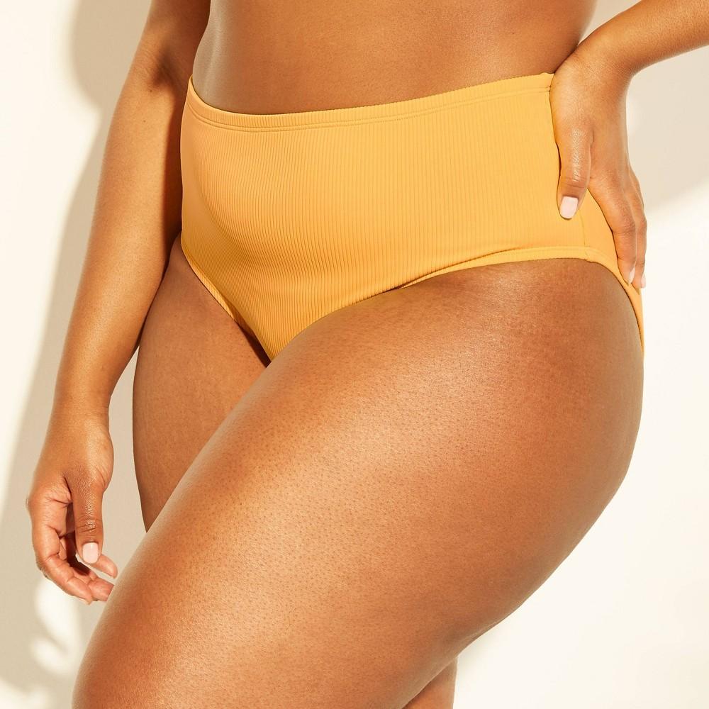 Women's Textured High Waist Bikini Bottom - Xhilaration Marigold 20W/22W, Yellow