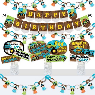 Big Dot of Happiness Smash and Crash - Monster Truck - Banner and Photo Booth Decorations - Boy Birthday Party Supplies Kit - Doterrific Bundle