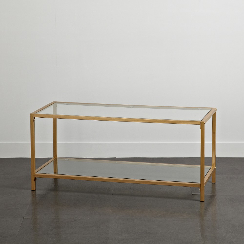 Image of Tempered Glass and Metal TV Stand Gold - Project 101