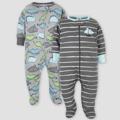 Gerber Baby Boys' 2pk Organic Cotton Dino Sleep N' Play - Gray 3-6M