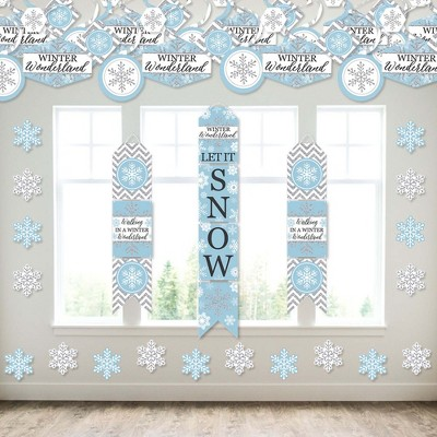 Big Dot of Happiness Winter Wonderland - Wall and Door Hanging Decor - Snowflake Holiday Party and Winter Wedding Room Decoration Kit