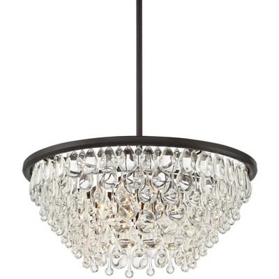 "Vienna Full Spectrum Bronze Crystal Round Pendant Light 22"" Wide Modern Fixture Dining Room House Bedroom Kitchen Island Hallway"