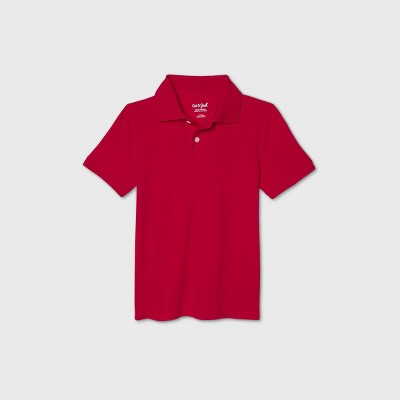 Boys' Short Sleeve Stretch Pique Uniform Polo Shirt - Cat & Jack™ Red