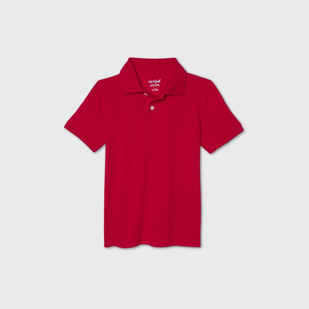 oversizeBoys Short Sleeve Stretch Pique Uniform Polo Shirt - Cat & Jack Red L Husky