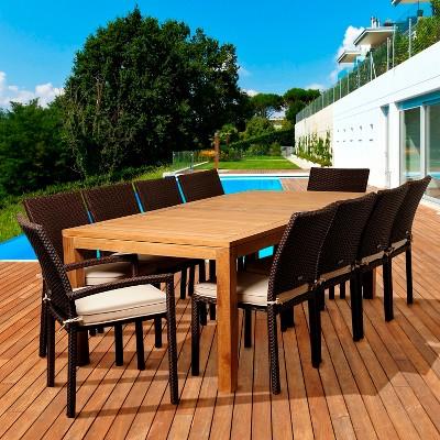 Coral 11 Piece Teak/Wicker Rectangular Patio Dining Furniture Set