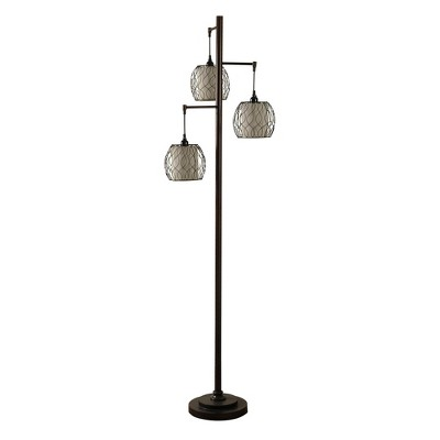 Abode 84 Clifton Mid-Century Modern Floor Lamp with Woven Caged Shades, Bronze