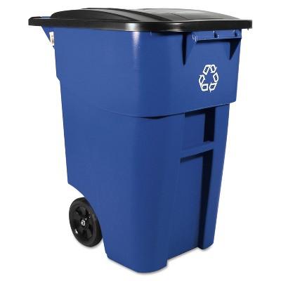 Rubbermaid Brute Rollout Container Square Plastic 50 gal Blue 9W27BLU