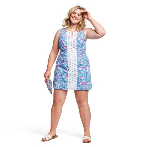 Women\'s Plus Size My Fans Sleeveless Split Neck Shift Mini Dress - Lilly  Pulitzer for Target Blue/Pink