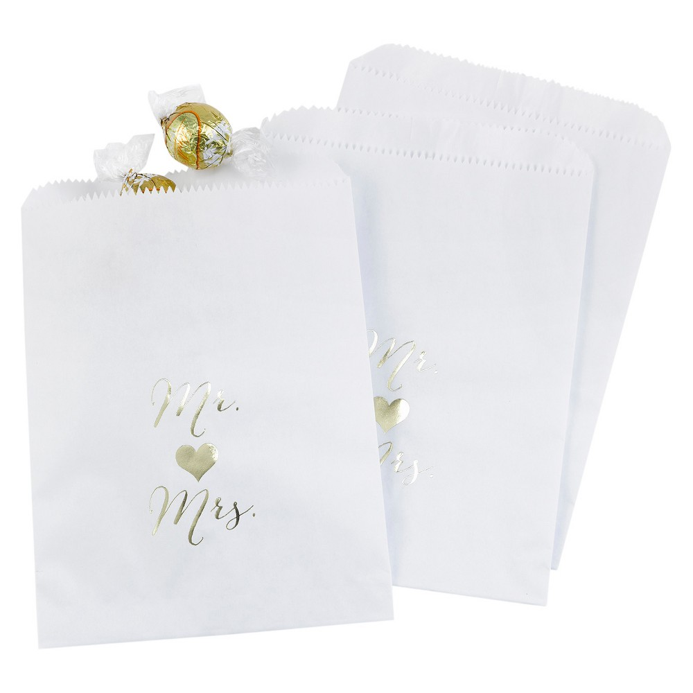 25ct Mr and Mrs Treat Bags White