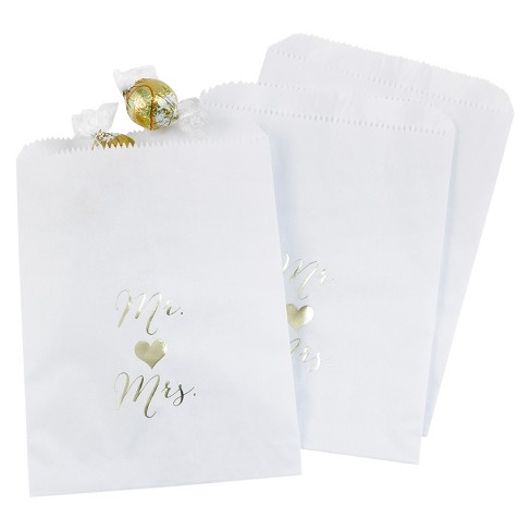 25ct Mr and Mrs Treat Bags - White - image 1 of 1