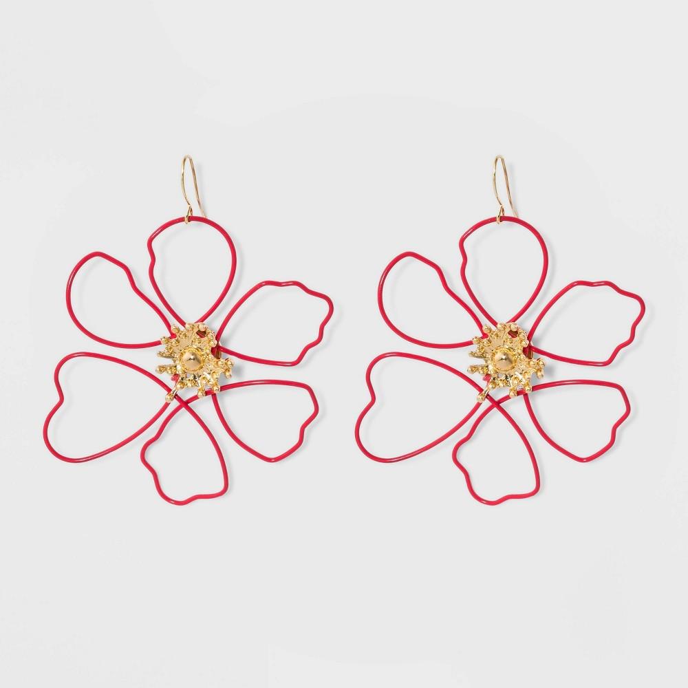 Sugarfix by BaubleBar Wire Flower Drop Earrings - Red, Women's