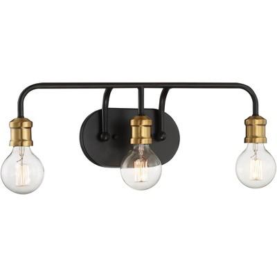 "Possini Euro Design Modern Industrial Wall Light Black Brass Hardwired 20"" Wide 3-Light Fixture Non Glass Bathroom Vanity Mirror"
