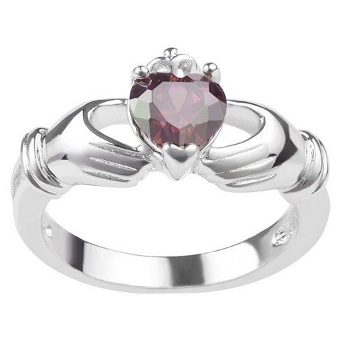 1/3 CT. T.W. Heart-Cut CZ Basket Set Celtic Claddagh Emblem Ring in Sterling Silver - image 1 of 2