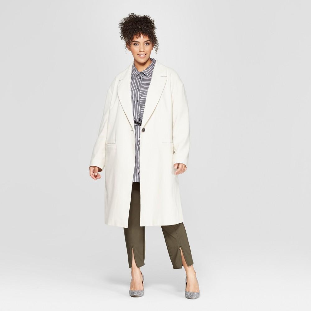 Women's Plus Size Crombie Coat - Who What Wear Cream 1X, Beige