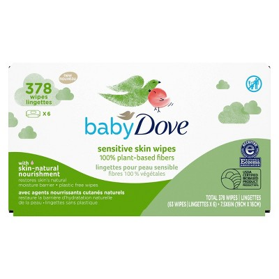 Baby Dove Unscented Plant-Based Sensitive Skin Baby Wipes - 378ct