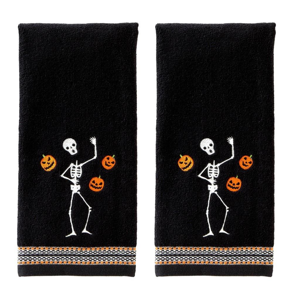 Image of 2pc Juggling Skeleton Hand Towel Set Black - SKL Home