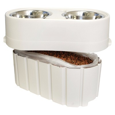 Pet Zone Store-N-Feed Pet Feeder Cat/Dog Bowl -  White - 15lbs