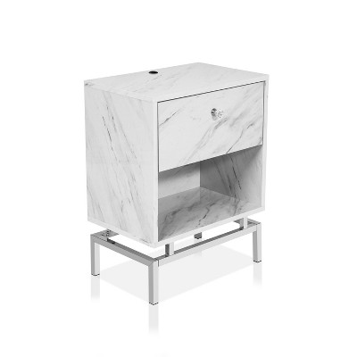 Brama Open Shelf End Table with USB Port - HOMES: Inside + Out