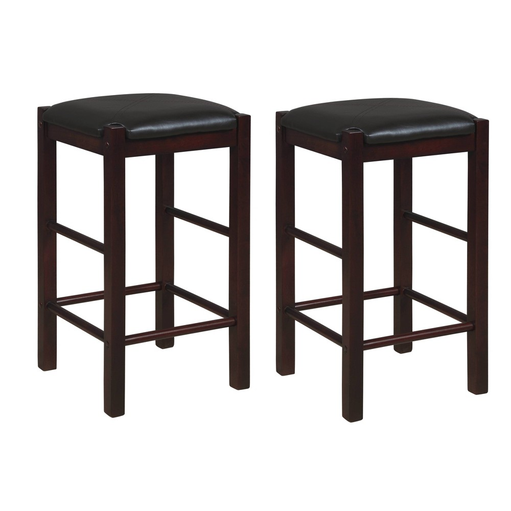 Set Of 2 Lancer Backless Counter Height Barstools Espresso Linon
