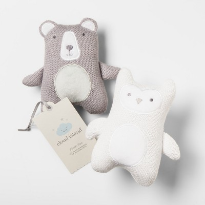 Plush Knit Rattles Bear & Owl 2pk - Cloud Island™ Gray/White