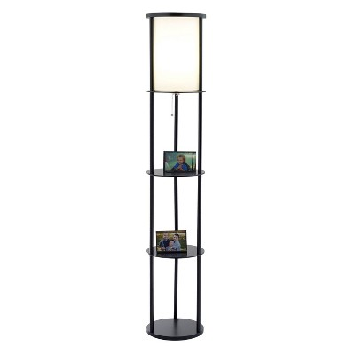 "62.5"" Stewart Shelf Floor Lamp Black - Adesso"