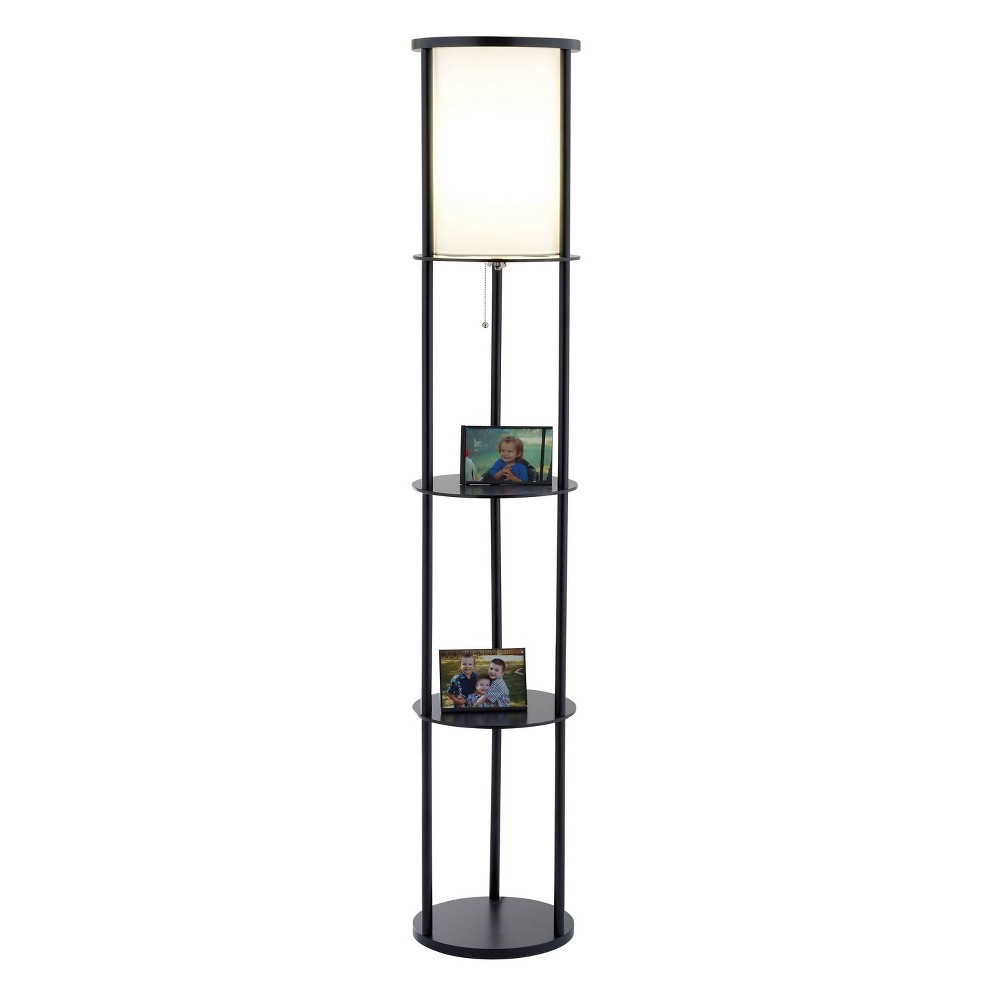 Image of Adesso Stewart Shelf Floor Lamp - Black