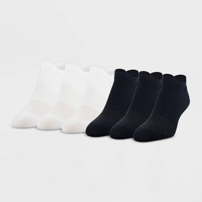 Peds Women's Extended Size All Day Active Double Tab 6pk Ultra Low No Show Liner Casual Socks - White/Black 8-12