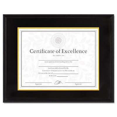 Dax Hardwood Document/Certificate Frame w/Mat 11 x 14 8 1/2 x 11 Black 1511TB