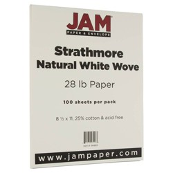 JAM Paper Strathmore 28lb Paper - 8.5 x 11 - Natural White Wove - 100 Sheets