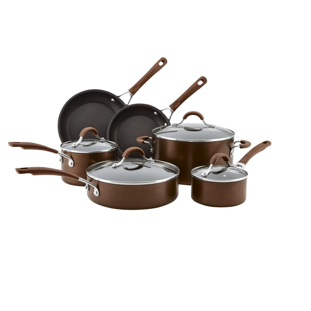 Image of Circulon 10pc Hard Anodized Cookware Set Cocoa (Brown)