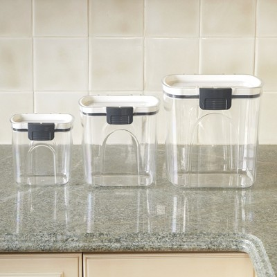 Lakeside Air Tight Locking Lid Plastic Canisters for Food Storage - Set of 3