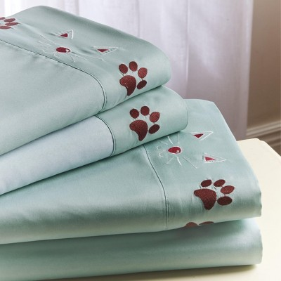 Lakeside Floral Felines Pet Themed Bedding Sheet Set with Pillowcases