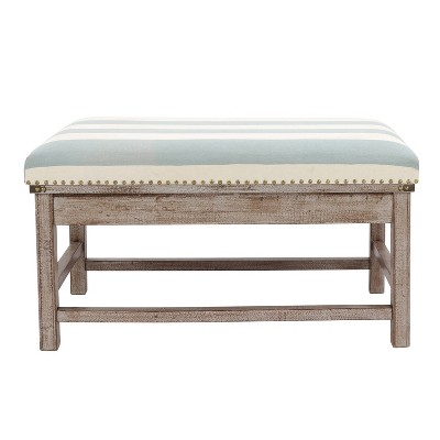 Farley Upholstered Weathered Ottoman Driftwood - Décor Therapy