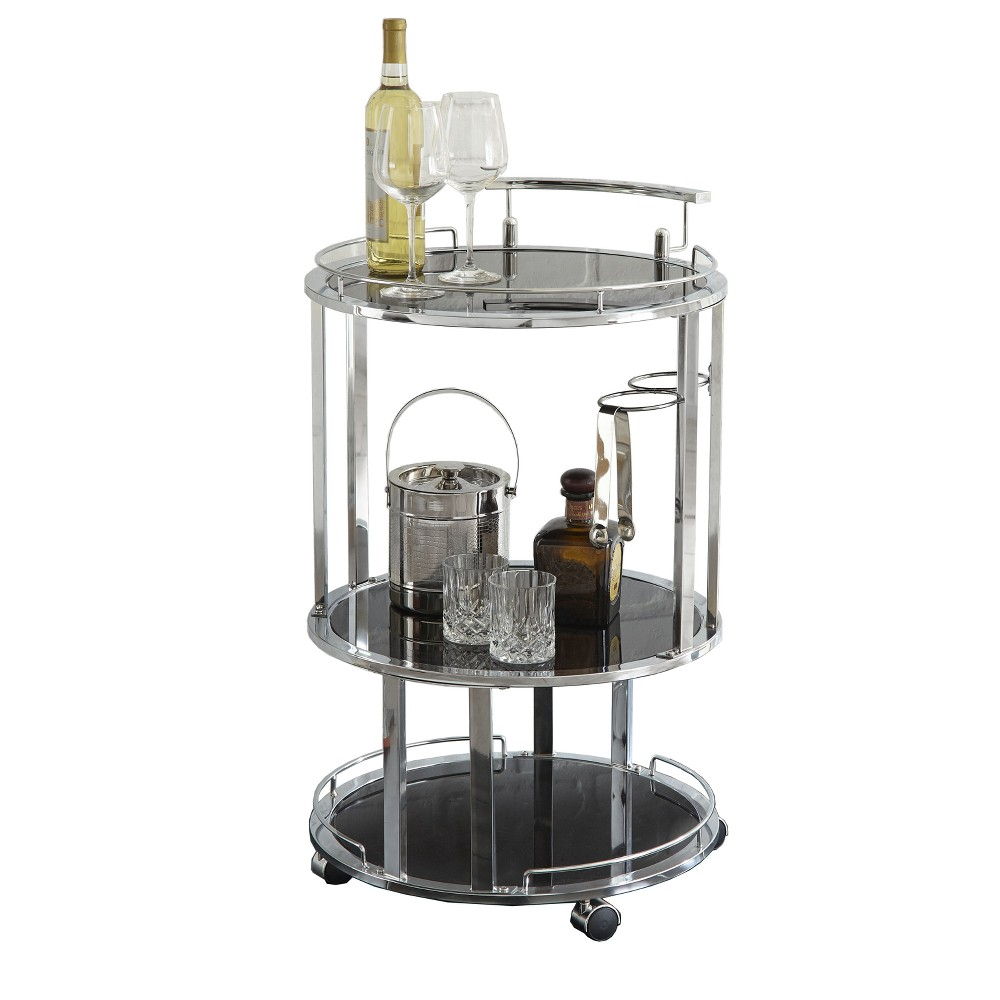 Otero Server Cart Acrylic and Chrome (Grey) - Steve Silver