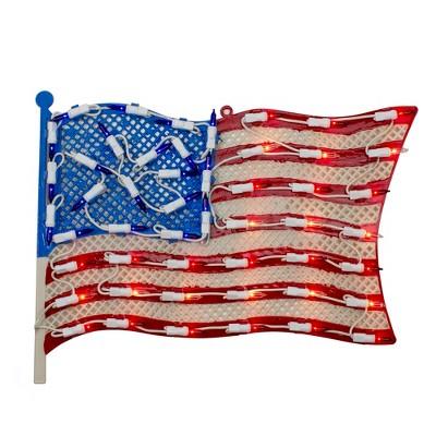 "Northlight 14"" Lighted Patriotic American Flag Window Silhouette Decoration"