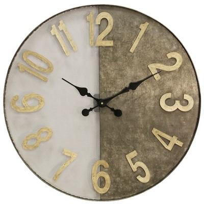 24  Wire Mesh & Galvanized Metal Wall Clock - StyleCraft