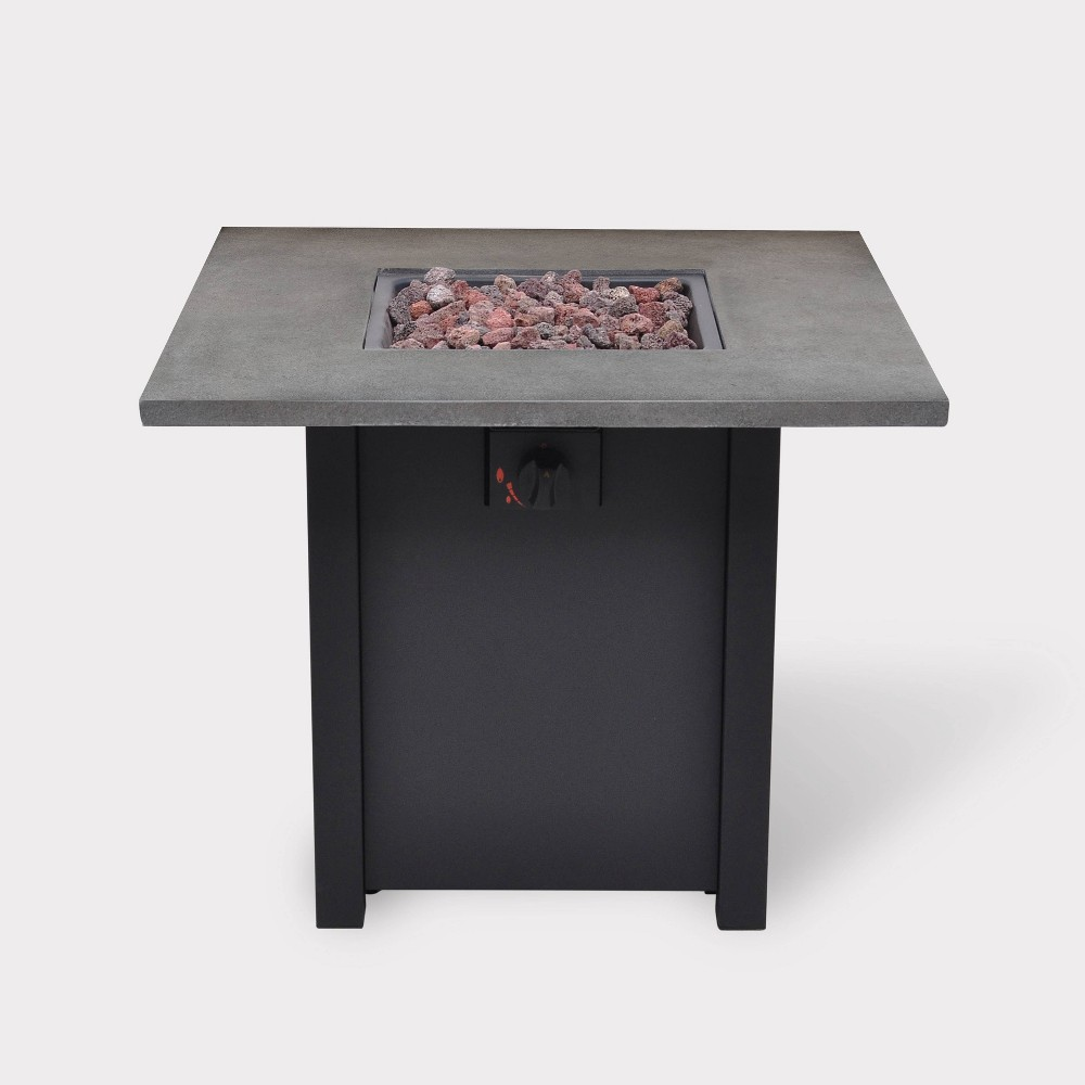 """Image of """"30"""""""" Wide Steel Gas Fire Table - Gray Stone Top - BOND, Black"""""""