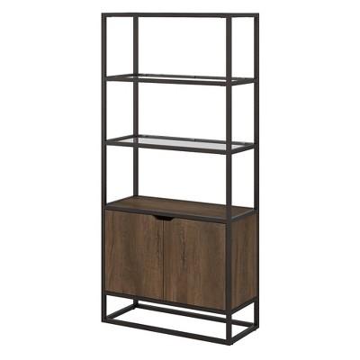 "64.13"" 5 Shelf Anthropology Bookshelf with Doors Rustic Brown - Bush Furniture"