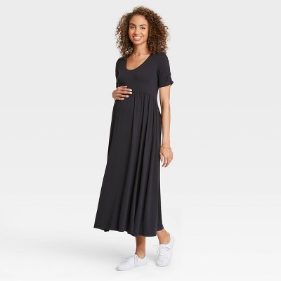 The Nines by HATCH™ Shirred Short Sleeve Jersey Maternity Dress Black