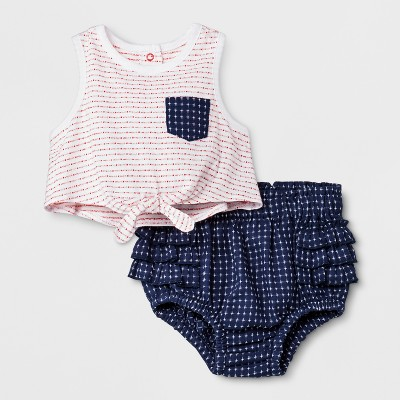 Baby Girls' Shorts and Tank Set - Cat & Jack™ White/Navy 6-9M
