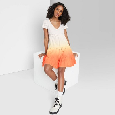 Women's Short Sleeve Tiered Knit Babydoll Dress - Wild Fable™
