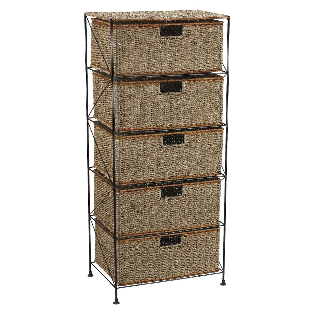 Image of Household Essentials Seagrass/Rattan Metal Frame with 5-Drawer Storage Chest - Black, Brown